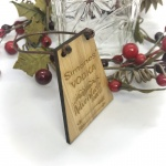 Vodka Bottle Tag Drinks Plaque in Bamboo ''Adventure Awaits'' Personalised with your own words