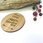 2 x Bamboo Coasters for Cider ''Adventure Awaits'' Personalised with your own words