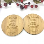 2 x Bamboo Coasters for Wine ''Merry Christmas'' Personalised with your own words