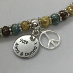 Personalised Bracelet CHIHUAHUA<br>Handmade with Sterling Silver Peace Sign and Boho Beads