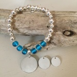 Personalised Bracelet SIBERIAN HUSKY<br>Handmade with Silver-Plated & Blue Glass Beads