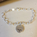 Personalised Sterling Silver Bracelet MALTESE TERRIER<br>Handmade with 19 cm Sterling Silver Oval Belcher Chain