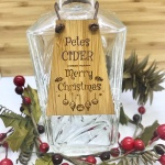 Cider Bottle Tag Drinks Plaque in Bamboo ''Merry Christmas'' Personalised with your own words