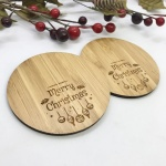 2 x Bamboo Coasters for Cider ''Merry Christmas'' Personalised with your own words