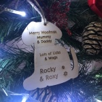 Xmas Personalised Wooden Christmas Decoration from the Dog