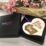 Personalised White Heart Keepsake with image for loved Pet Dog