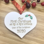 1 Lockdown Merry Christmas Our First Christmas White Heart Bauble Personalised with your own words