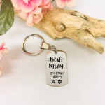 Personalised Rectangular Shape Keyring BEST MUM with PAW MARKS from the DOG or CAT