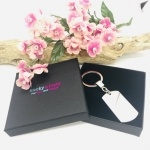 Personalised Rectangular Shape Keyring BEST MUM with TWO HEARTS and NAMES