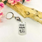 Personalised Rectangular Shape Keyring with Leopard Bead BEST MUM with CHILDS FOOT and NAME