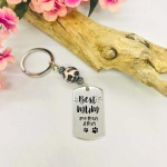 Personalised Rectangular Shape Keyring with Leopard Bead BEST MUM with PAW MARKS from the DOG or CAT