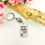 Personalised Rectangular Shape Keyring with Leopard Bead BEST MUM with CHILDS FEET and NAMES