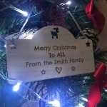 Xmas Personalised Wooden Christmas Family Plaque Decoration