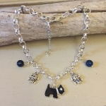 Personalised Dog Necklace MINI SCHNAUZER Design<br>Handmade with Silver-Plated Belcher Chain, Charms & Dark Blue Agate Gemstones