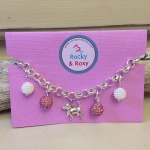 Personalised Dog Necklace PAPILLON Design<br>Handmade with Silver-Plated Belcher Chain, Dog Charm, Pink Crystal Balls & Cluster Pearl Acrylic Beads