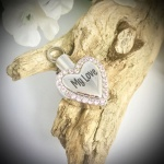 Cremation Ashes Urn Heart Shaped Pink Diamantes for keepsake, necklace or bracelet personalised with your own words or design