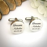 Wedding Cufflinks Round Shaped personalised for weddings with GROOM