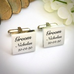 Wedding Cufflinks Square Shaped personalised for weddings with GROOM
