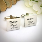 Wedding Cufflinks Square Shaped personalised for weddings with USHER