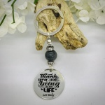 Personalised Keyring with Grey Shiny Bead Design - THANK YOU FOR BEING IN MY LIFE