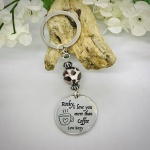 Personalised Keyring with Leopard Print Bead Design - I LOVE YOU MORE THAN COFFEE