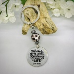 Personalised Keyring with Leopard Print Bead Design - THANK YOU FOR BEING IN MY LIFE