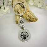 Personalised Keyring with Silver Sparkle Bead Design - THANK YOU FOR BEING IN MY LIFE