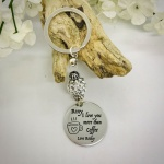 Personalised Keyring with Silver Sparkle Bead Design - I LOVE YOU MORE THAN COFFEE