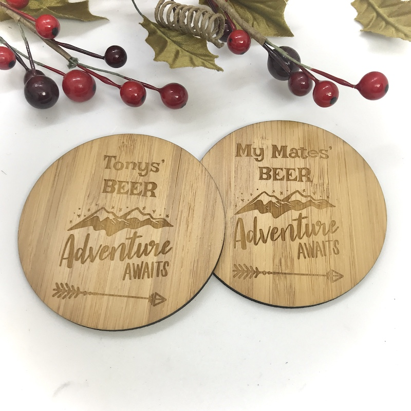 2 x Bamboo Coasters for Beer ''Adventure Awaits'' Personalised with your own words