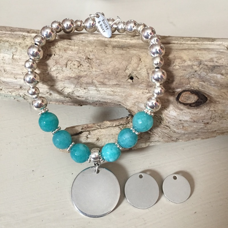 Personalised Bracelet FRENCH BULLDOG<br>Handmade with Silver-Plated beads & Turquoise Agate GemStones