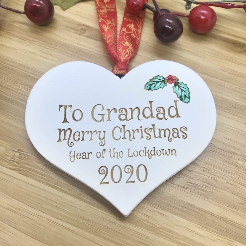 1 Lockdown Merry Christmas Grandad White Heart Bauble Personalised with your own words