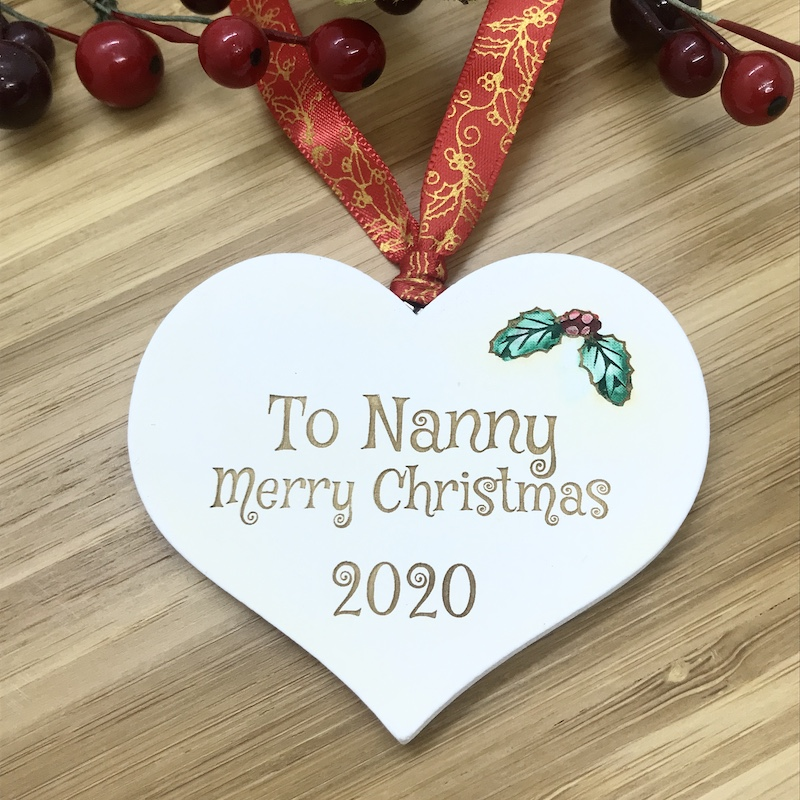1 Merry Christmas Nanny White Heart Bauble Personalised with your own words