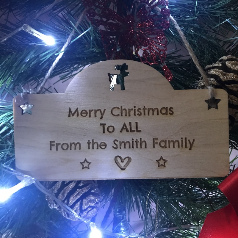 Personalised Wooden Christmas Family Plaque Decoration