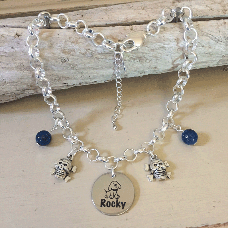 Personalised Dog Necklace MINI SCHNAUZER Design with Dog Name<br>Handmade with Silver-Plated Belcher Chain, Pet Name & Dark Blue Agate Gemstones