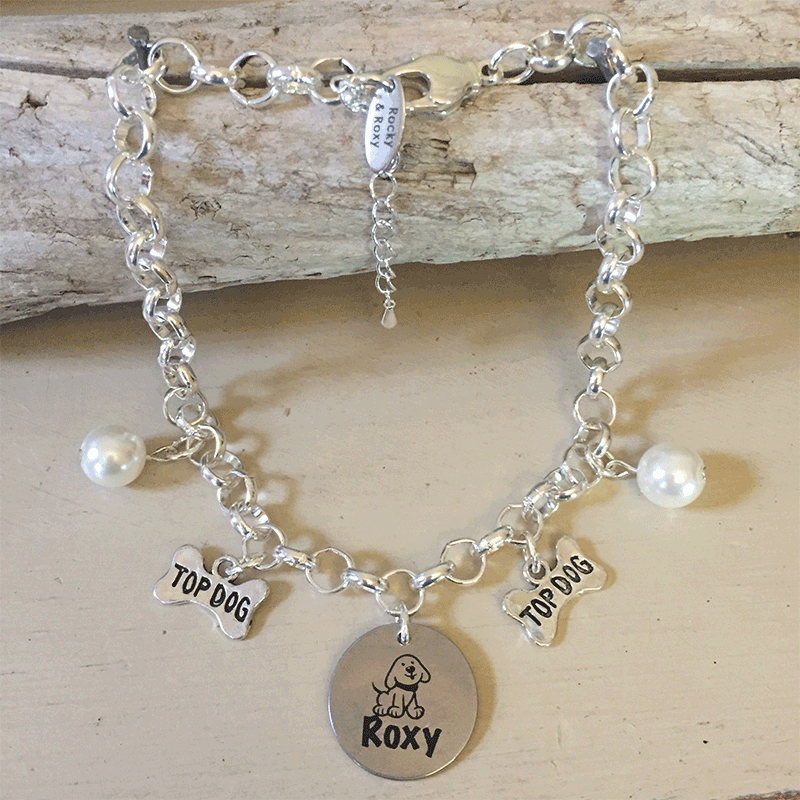 Personalised Dog Necklace POMERANIAN Design with Dog Name<br>Handmade with Silver-Plated Belcher Chain, Pet Name & Pearl Acrylic Beads