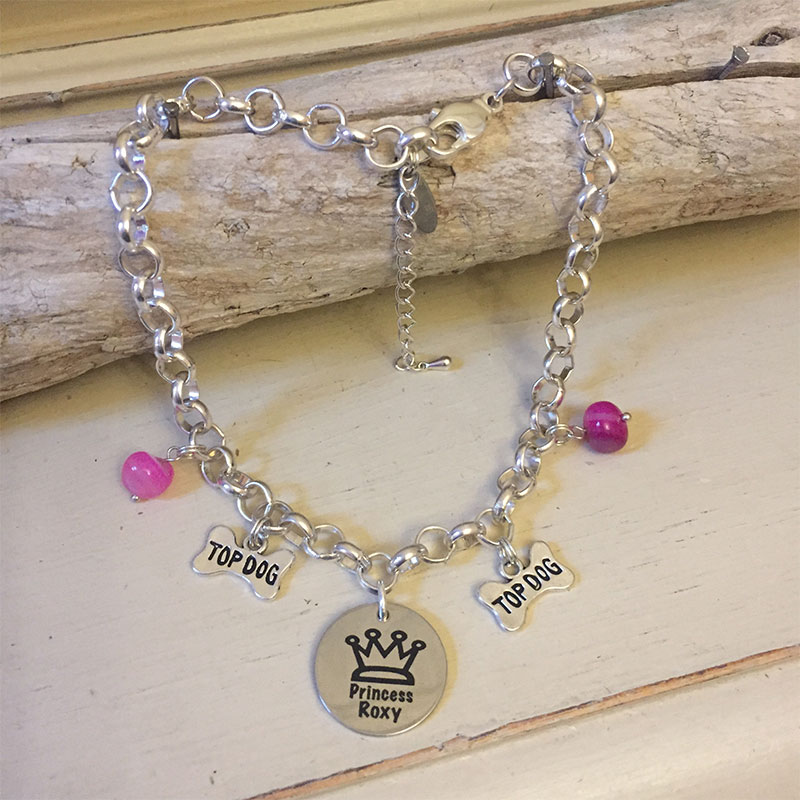 Personalised Dog Necklace Personalised with PRINCESS Design<br>Handmade with Silver-Plated Belcher Chain, Charms & Pink Agate Gemstones