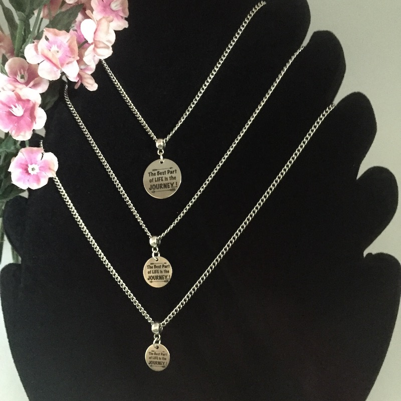 Personalised Stainless Steel Women's Necklace PUG<br>Handmade with Stainless Steel Curb Chain add Personalised Disc