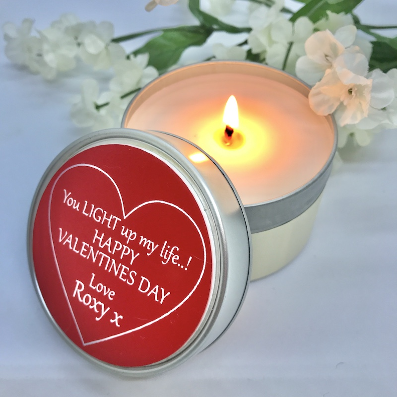 Valentines Personalised Soy Candle Mimosa and Mandarin