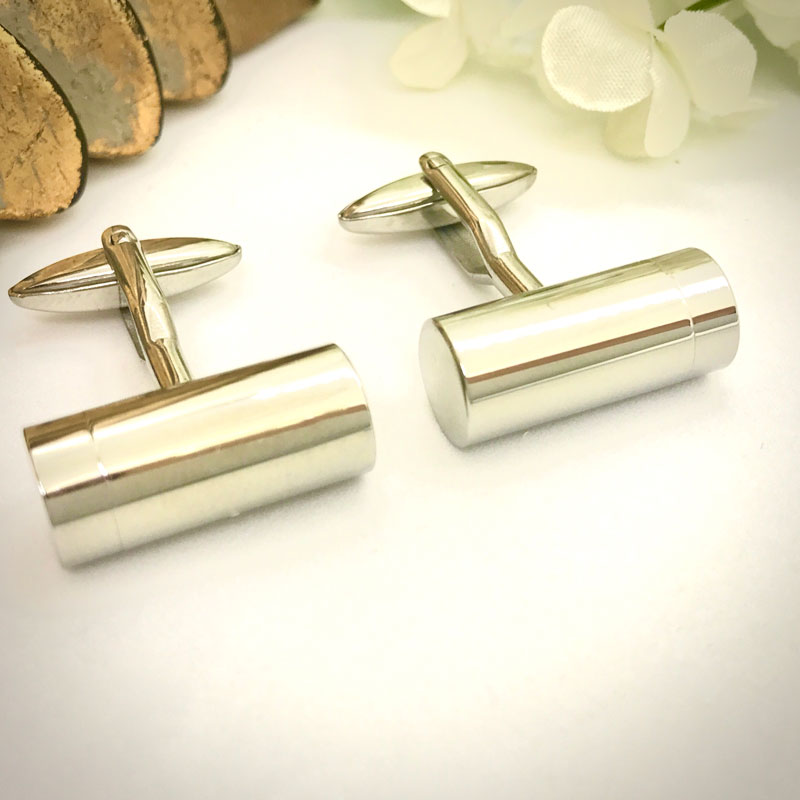 Cufflinks Cremation Ashes Urn Barrel Shaped personalised with message