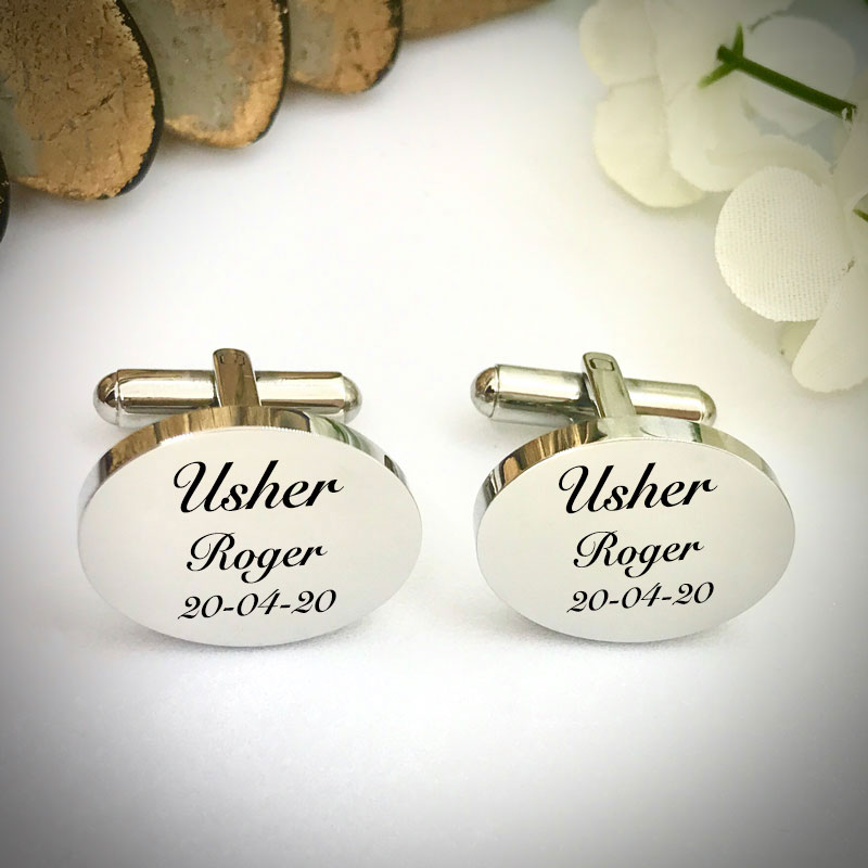 Wedding Cufflinks Oval Shaped personalised for weddings with USHER