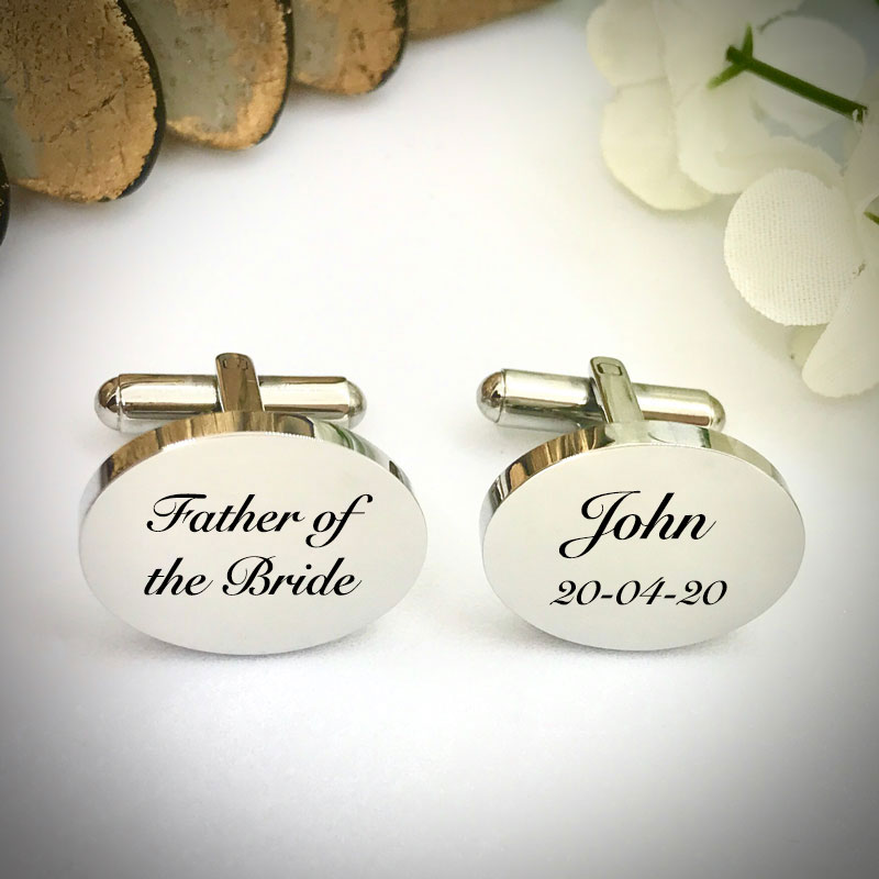 Wedding Cufflinks Oval Shaped personalised for weddings with FATHER OF THE BRIDE