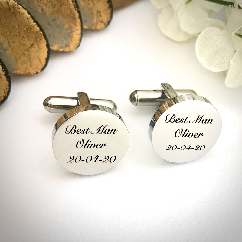Wedding Cufflinks Round Shaped personalised for weddings with BEST MAN