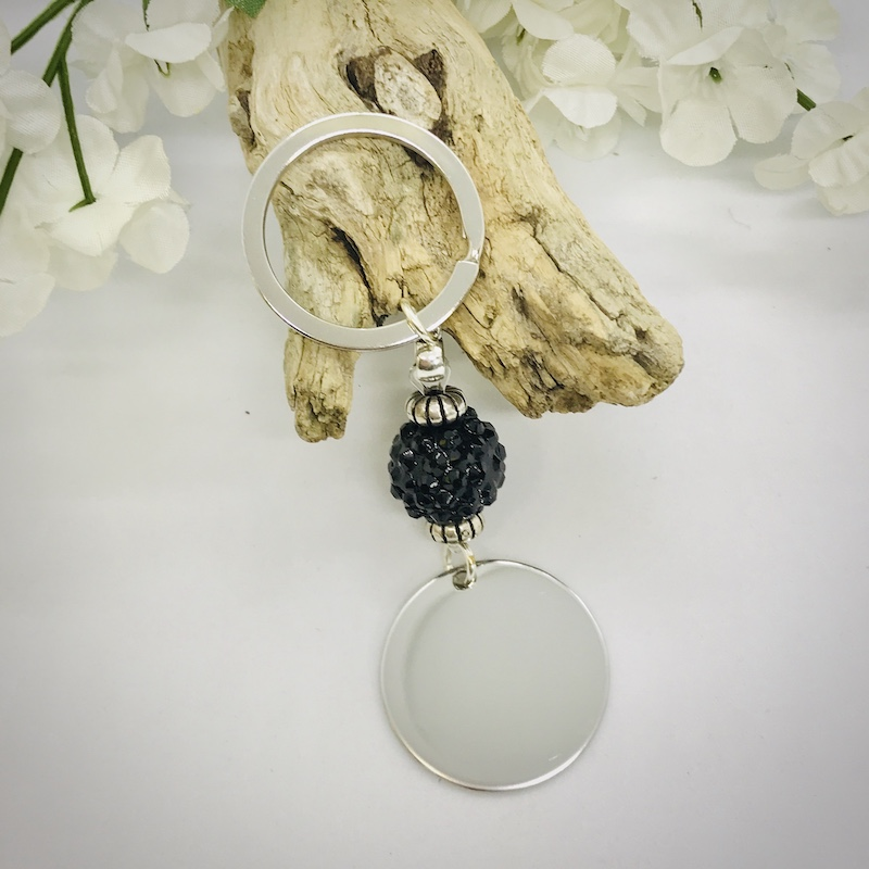 Personalised Keyring with Black Sparkle Bead Design - BLANK FOR YOUR OWN MESSAGE