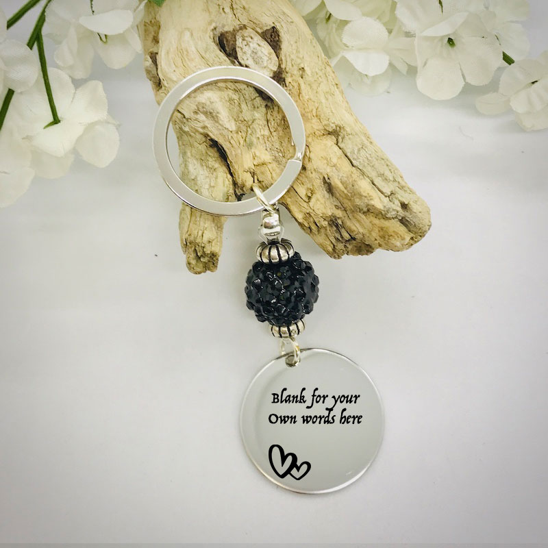 Personalised Keyring with Black Sparkle Bead Design - CUTE HEARTS AND BLANK AREA FOR YOUR OWN MESSAGE