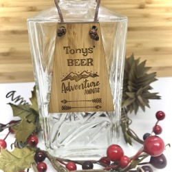 Beer Bottle Tag Drinks Plaque in Bamboo ''Adventure Awaits'' Personalised with your own words