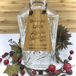 Cava Bottle Tag Drinks Plaque in Bamboo ''Adventure Awaits'' Personalised with your own words