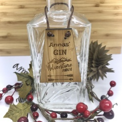Gin Bottle Tag Drinks Plaque in Bamboo ''Adventure Awaits'' Personalised with your own words