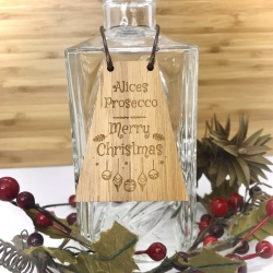 Prosecco Bottle Tag Drinks Plaque in Bamboo ''Merry Christmas'' Personalised with your own words