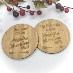 2 x Bamboo Coasters for Cava ''Adventure Awaits'' Personalised with your own words