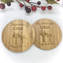 2 x Bamboo Coasters for Cava ''Happy Birthday'' Personalised with your own words